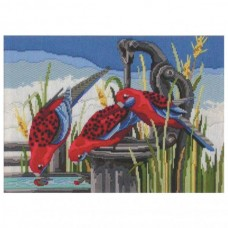 Country Threads Long Stitch Kit - CRIMSON ROSELLAS 25X34.5CM
