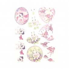 Couture Creations 3D Diecut Decoupage kit - Jeanine's Art - Young Animals - Cuties in Purple