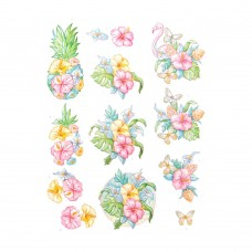 Couture Creations 3D Diecut Decoupage kit - Yvonne Creations - Happy Tropics - Tropical Flowers