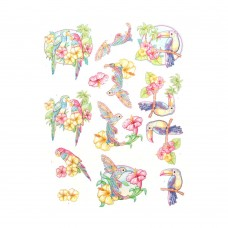 Couture Creations 3D Diecut Decoupage kit - Yvonne Creations - Happy Tropics - Exotic Birds