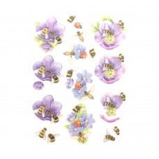 Couture Creations 3D Diecut Decoupage kit - Jeanine's Art - Buzzing Bees - Purple Flowers