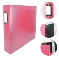 Couture Creations Album - Classic Superior Leather D-Ring Album - Strawberry Pink