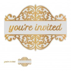 Couture Creations Gentleman's Emporium - Cut Foil & Emboss Die You're Invited Tag