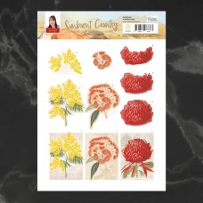 Couture Creations Sunburnt Country 3D Diecut Decoupage - Flower Tags