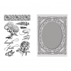 Couture Creations Stamp & Emboss Set - CLV - Butterflies and Roses - for A2 cards