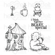 Heartfelt Creations Beary Fun Retreat Happy Time Treehouse Cling Stamp Set HCPC-3798