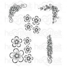 Heartfelt Creations Berry Blossoms Cling Stamp Set HCPC-3731