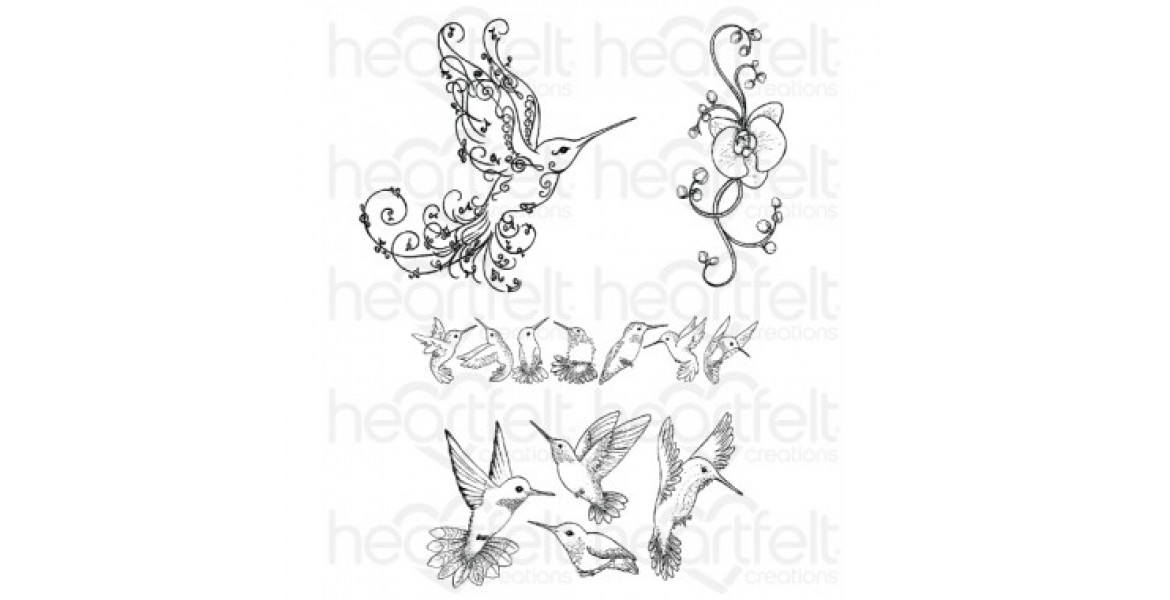 Heartfelt Creations Regal Hummingbird Cling Stamp Set