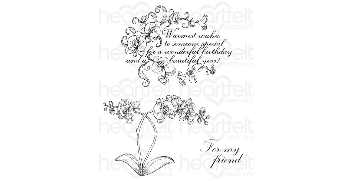 Heartfelt Creations Botanic Orchid Wishes Cling Stamp Set