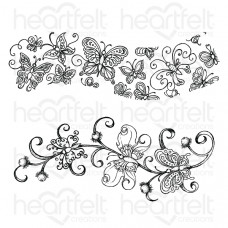 Heartfelt Creations Butterfly Dreams Border Cling Stamp Set