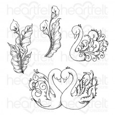 Heartfelt Creations Calla Lily Collection Feathery Swan Cling Stamp Set