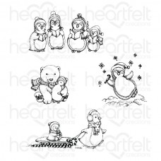 Heartfelt Creations Candy Cane Cottage Merry Moments Cling Stamp Set