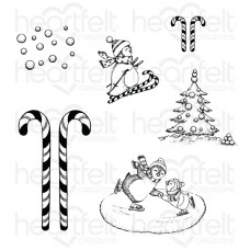 Heartfelt Creations Candy Cane Cottage Season of Glee Cling Stamp Set