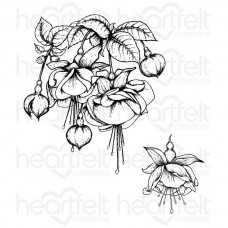 Heartfelt Creations Fuchsia Bouquet Cling Stamp Set HCPC-3672