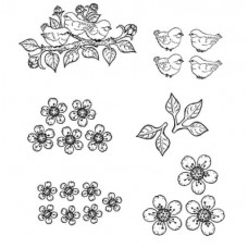 Heartfelt Creations Cherry Blossom Retreat Collection - Tweet Cherry Blossoms Cling Stamp Set