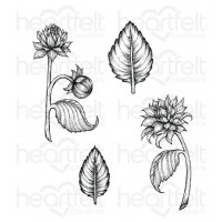 Heartfelt Creations Dazzling Dahlia Collection Dahlia and Leaves Cling Stamp Set