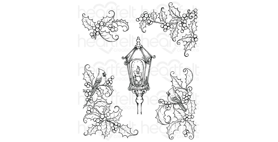 Heartfelt Creations Festive Holly & Cardinals Cling Stamp Set