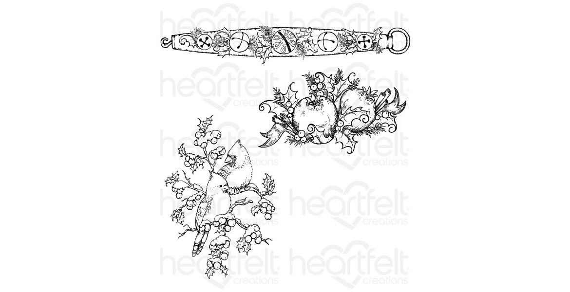 Heartfelt Creations Holly Berry Jingle Cling Stamp Set