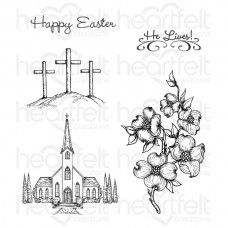 Heartfelt Creations Dogwood Chapel Cling Stamp Set