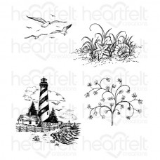 Heartfelt Creations Balmy Breeze Sand and Sea Cling Stamp Set HCPC-3528