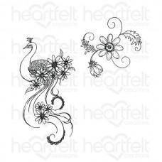 Heartfelt Creations Peacock Swirls Cling Stamp Set HCPC-3660