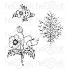 Heartfelt Creations Blazing Poppy Fillers Cling Stamp