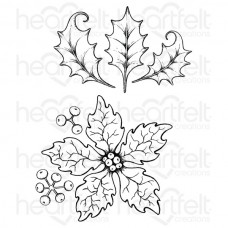 Heartfelt Creations Large Sparkling Poinsettia Cling Stamp Set