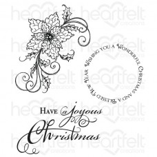 Heartfelt Creations Sparkling Poinsettia Swirl Cling Stamp Set HCPC-3682