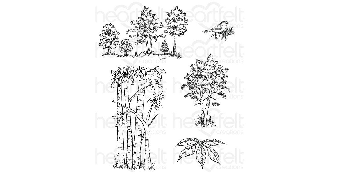 *** Pre Order Heartfelt Creations Woodsy Treescape Cling Stamp Set HCPC-3766