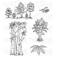 Heartfelt Creations Woodsy Treescape Cling Stamp Set HCPC-3766