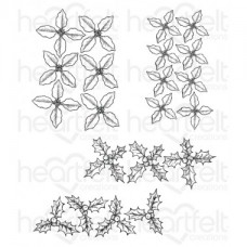Heartfelt Creations Poinsettia & Holly Clusters Cling Stamp Set