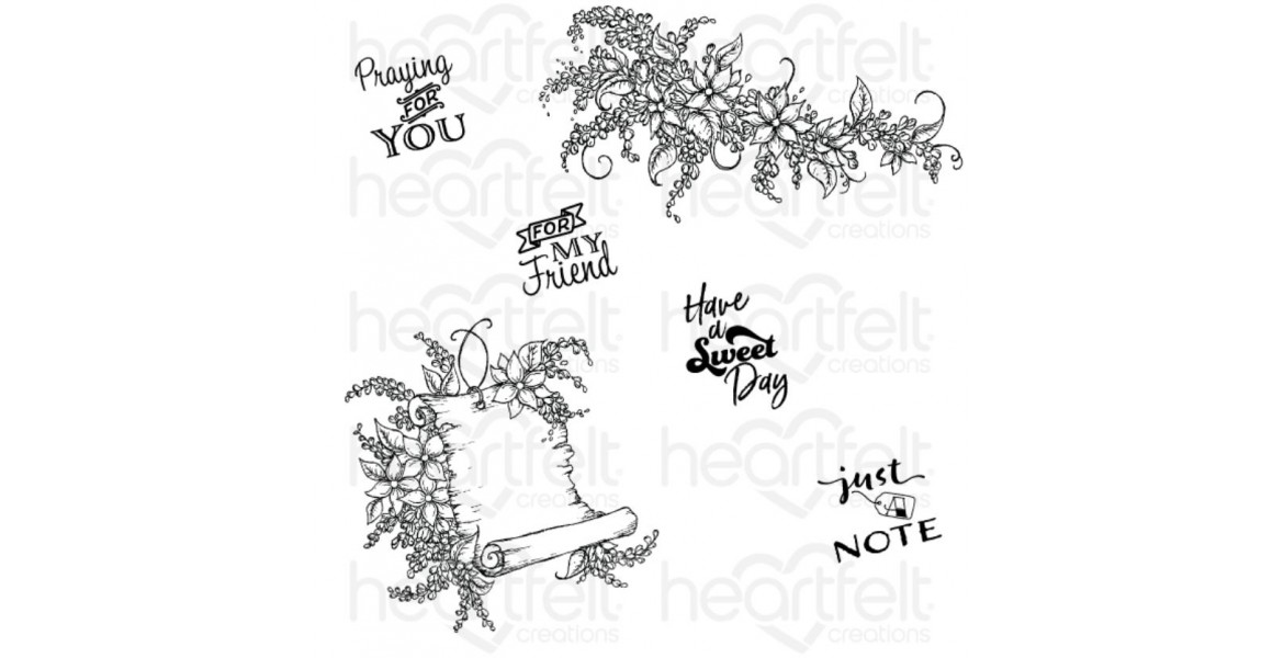 Heartfelt Creations Sweet Lilac Scroll & Notes Cling Stamp Set HCPC-3818