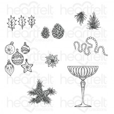 Heartfelt Creations Merry and Bright Accents Cling Stamp Set