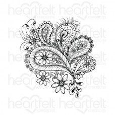 Heartfelt Creations Peacock Paisley Cling Stamp Set