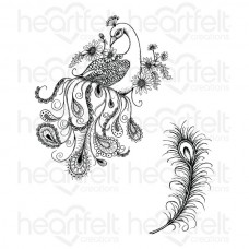 Heartfelt Creations Feathery Peacock Cling Stamp Set