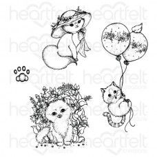 Heartfelt Creations Purr-fect Posies Collection - Playful Miss Kitty Cling Stamp Set