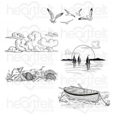 Heartfelt Creations Sea Breeze Sand and Sunsets Cling Stamp Set