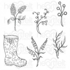 Heartfelt Creations Rain Boots and Blossoms Cling Stamp Set HCPC-3811