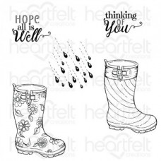 Heartfelt Creations Raindrop Sentiments Cling Stamp Set HCPC-3812