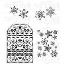 Heartfelt Creations Snow Kissed Flakes and Tag Cling Stamp Set