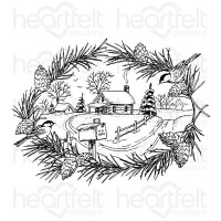 Heartfelt Creations Snowy Pines Collection Snowy Pines Cabin Cling Stamp Set