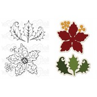 Heartfelt Creations Sparkling Poinsettia Large Die + Stamp Set
