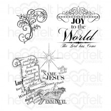 Heartfelt Creations Sparkling Poinsettia Joy to the World Cling Stamp Set