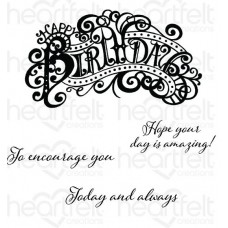 Heartfelt Creations Special Sentiments Collection Elaborate Birthday Cling Stamp Set