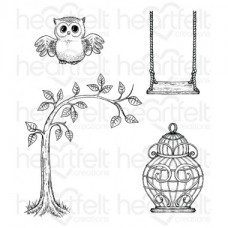 Heartfelt Creations Sugar Hollow Hangout Cling Stamp Set HCPC-3714