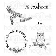 Heartfelt Creations It's Owl Good Cling Stamp Set HCPC-3717