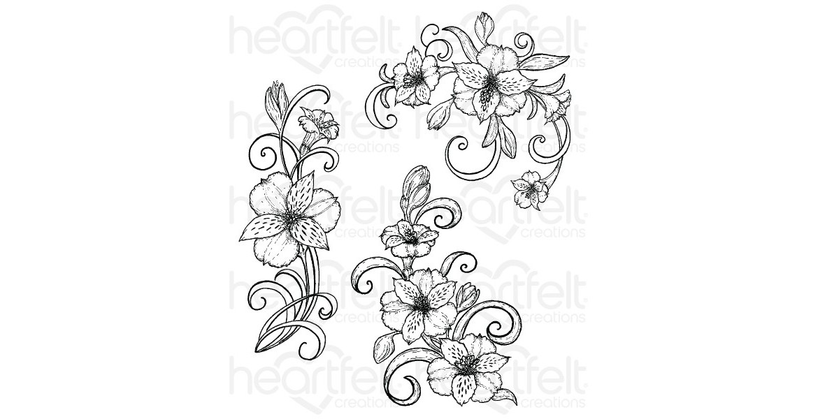 Heartfelt Creations Sunrise Lily Swirls Cling Stamp Set