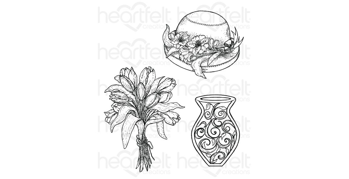 Heartfelt Creations Sunrise Lily Bouquet Cling Stamp Set
