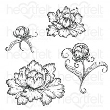 Heartfelt Creations Peony Bud and Blossom Cling Stamp Set HCPC-3821
