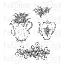 Heartfelt Creations Tea Time Collection Elegant Teapot & Florals Cling Stamp Set